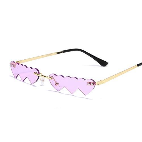 NJJX Gafas De Sol De Corazón Rojo Y Rosa Para Mujer, Gafas De Sol De Estilo Vintage A La Moda Para Mujer, Gafas De Sol De Metal Oceánico Sin Montura, Dorado, Púrpura