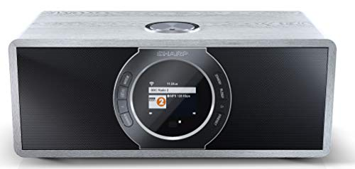 SHARP DR-I470 (GR) Stereo Internetradio/DAB, DAB+ Digitalradio, WiFi-Streaming, Bluetooth, DLNA, Farbdisplay, FM Radio, Alarm-/Schlaf und Snooze-Funktion, 30 Watt, grau