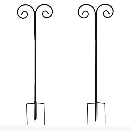 LUVODI Shepherd's Hooks 2 Stück Metall Gartenstab Hoheverstellbar 140-240cm Laternenstab Rankstab Garten Befestigungshaken für Laternen, Vogelkäfige, Blumenkörbe, Dekorationen usw. (Schwarz)