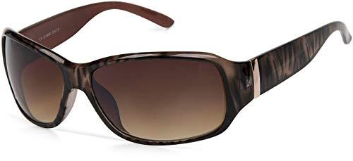 styleBREAKER Gafas de sol de diseñador con patrón de rayas, forma de mariposa, borde completo, mariposa 09020052, color:Marco marrón/delineado de vidrio marrón