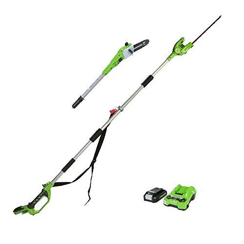 Greenworks Podadora y cortasetos inalámbricos 2en1 G24PSHK2 (Li-Ion 24V 20cm longitud de espada y 51cm grosor de corte de 18 mm que incluye batería de 2Ah y cargador)