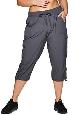 RBX Active Women's Plus Size Lightweight Drawstring Cargo Capri Pant S19 Grey 2X