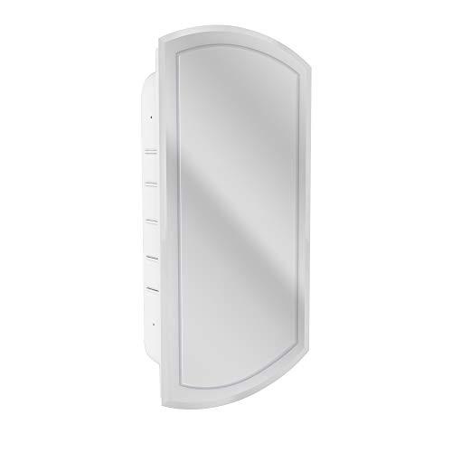 Head West V-Groove Beveled Mirror Recessed Medicine Cabinet, White