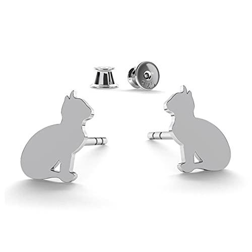 GIORRE Kleine Katzen Ohrstecker mit Gravur für Frauen und Kinder aus hypoallergenem Silber 925, platinbeschichtet, ein Set mit Silikonverschlüssen in silberner Fassung