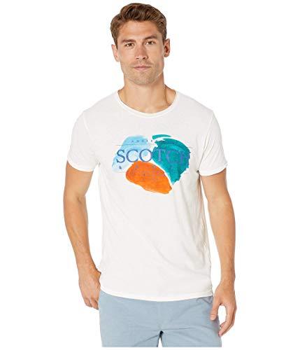 Scotch & Soda Camiseta masculina de manga curta com arte multicolorida, Off-white, XL