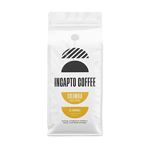 Incapto Coffee - Café en Grano de Colombia Risaralda El Vergel 1000g | Café Sudamericano | Suave, Cremoso y Equilibrado | Notas de Limón, Nuez y Azúcar Moreno