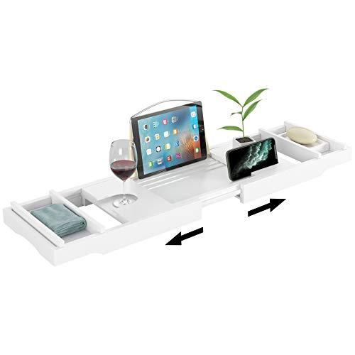 Homfa Bandeja Bañera de Bambú Bandeja de Baño Extensible con Soporte para Vaso Jabón Móvil iPad Libro Blanco (75-109) x23x4.8cm