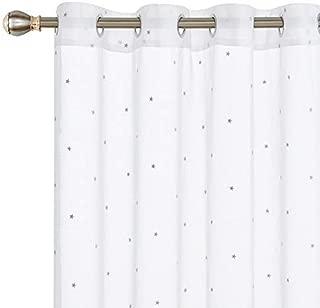 Deconovo Visillos Infantiles Bordados Blancos para Ventanas con Ojales 140 X 245 cm 2 Piezas Estrella Gris