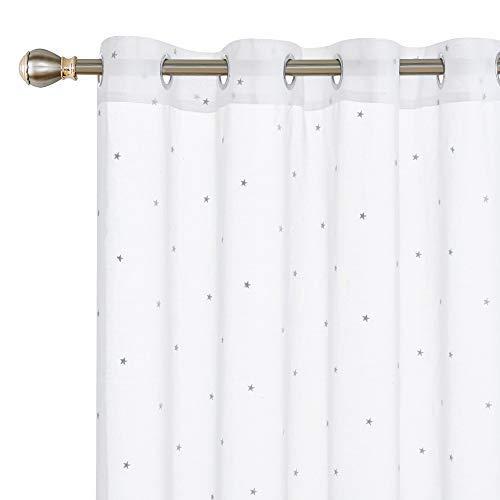 Deconovo Visillos Bordados Cortos para Ventanas Salón Infantil con Ojales 140 X 175 cm 2 Piezas Estrella Gris