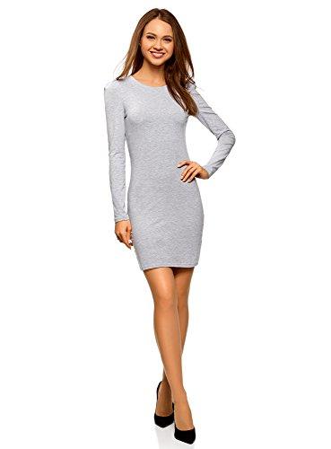 oodji Ultra Damen Enges Baumwoll-Kleid, Grau, DE 38 / EU 40 / M