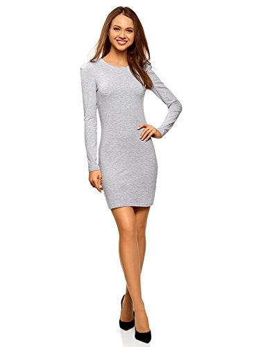 oodji Ultra Damen Enges Baumwoll-Kleid, Grau, DE 36 / EU 38 / S