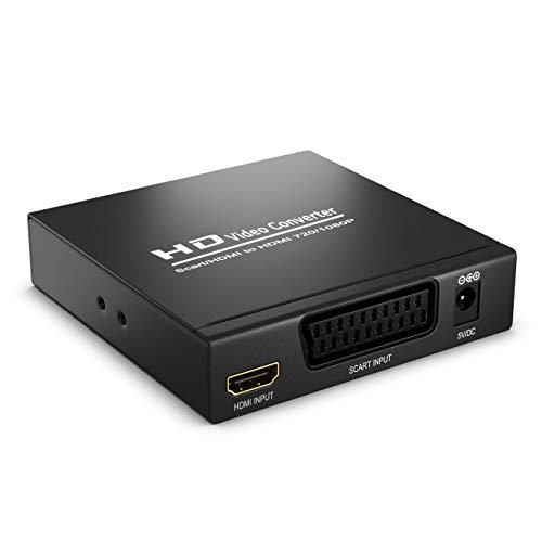 SCART zu HDMI Konverter mit Audio Extractor CVBS RGB SCART + HDMI Eingang auf HDMI Ausgang Koaxial + 3,5mm Audio Ausgang SCART auf HDMI