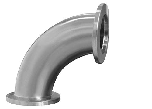 90 Degree Elbow, 1-1/2 Inches Tube OD Stainless Steel 304 Pipe Fitting Fits Tri Clamp 1.5 inch