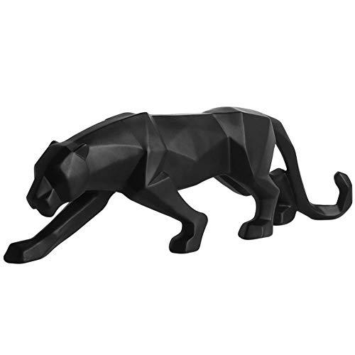 Meigold Kunstharz Skulptur Leopard Skulptur Handwerk Ornamente Geometrische Tierskulpturen Dekoration Geschenk, Schwarz, Schwarz, 15 cm