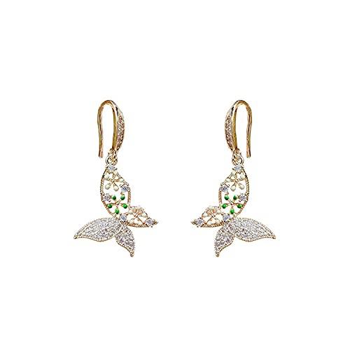 Pendientes de moda con diamantes de imitación y mariposa, pendientes de cristal dulce para mujer (color dorado, tamaño: mediano)