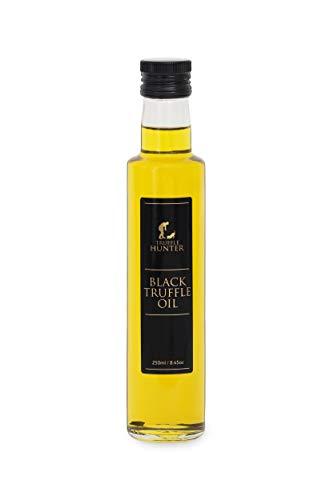 TruffleHunter Black Truffle Oil Double Concentrate (8.45 Oz) Olive Oil Real Truffle Pieces in Bottle - Gourmet Food Seasoning Marinade Salad Dressing - Vegan Kosher Vegetarian & Gluten Free