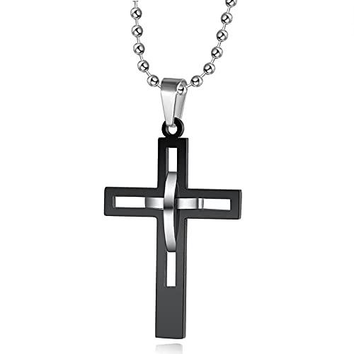 Starchenie Edelstahl Halskette Schwarz Farbe Einfarbig Kreuz Anhänger Halskette Katholisch Christlicher Schmuck Halskette für den Menschen