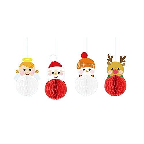US Warehouse - Party DIY Decorations - Christmas Tissue Paper Honeycomb Balls Santa Claus Glass Window Garland Cartoon Christmas Hanging Decoration Living Room Xmas d - (Color: A)
