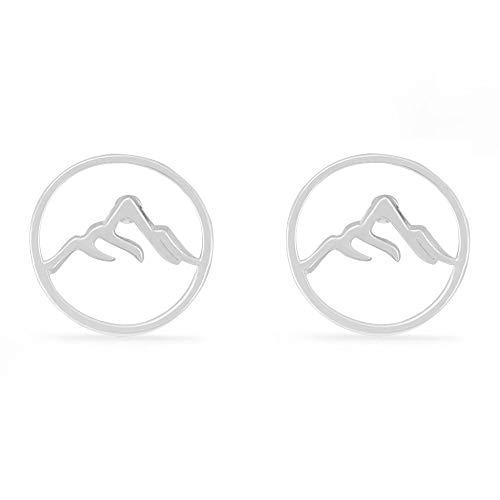 Boma Jewelry Sterling Silver Circle Mountain Peak Stud Earrings