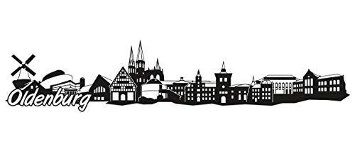 Samunshi® Oldenburg Skyline Wandtattoo Sticker Aufkleber Wandaufkleber City Gedruckt Oldenburg 120x26cm schwarz