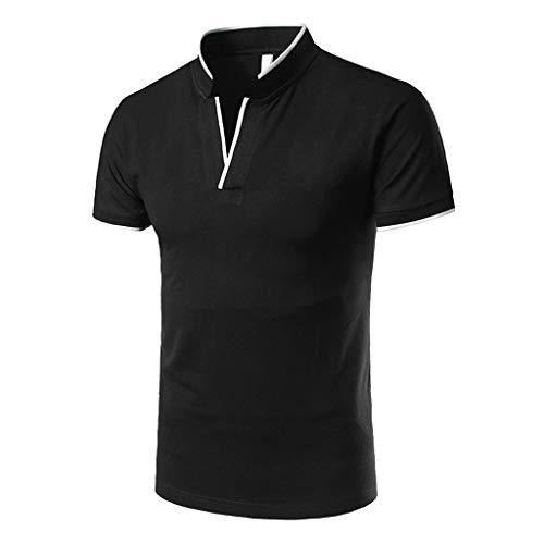Yowablo Herren Poloshirt Polo Polohemd Kurzarmshirt Shirt Basic Casual Fashion Stehkragen Kurzarm Polo Shirt Bluse (XXL,1Schwarz)