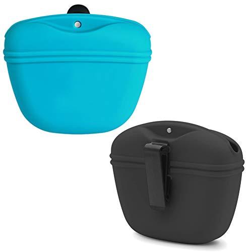 NALCY Leckerlibeutel für Hunde, 2 Stück Hunde Futterbeutel für Hundetraining, Hundeleckerlibeutel aus Silikon, Futterbeutel Hunde Tragbare Leckerli-Tasche mit magnetischem Verschluss und Taillen-Clip