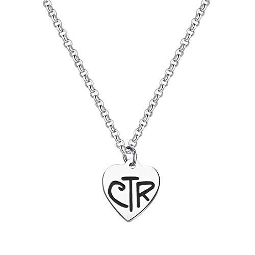 Belingry LDS CTR Necklace for Girls Choose The Right Latter Day Saints Jewelry for Women (Silver)