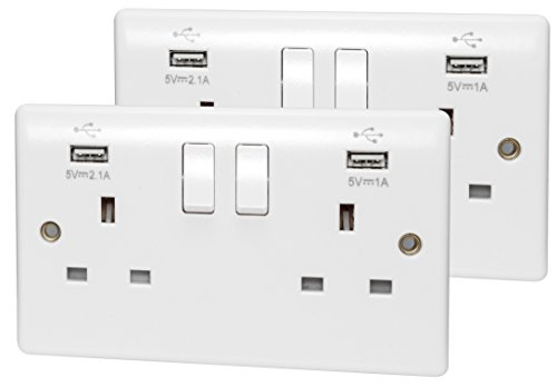2 x USB Double Wall Plug Socket 2 Gang 13A with 2 USB Charger Port Outlets White Socket Plate