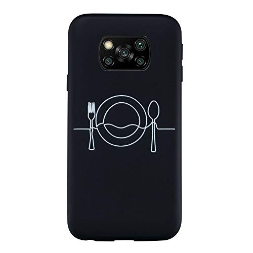 Everainy Kompatibel für Xiaomi Poco X3 NFC Hülle Silikon Gummi Bumper Case Cover TPU Gel Matt Hüllen Muster Handyhülle Ultradünn Stoßfest Schwarz Schutzhülle (Geschirr)
