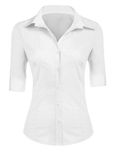 BeautyUU Damen Hemd Bluse Basic Hemd 3/4 Ärmel Hemdbluse Damenbluse Arbeitshemd Freizeithemd Business Hemd Weiß M