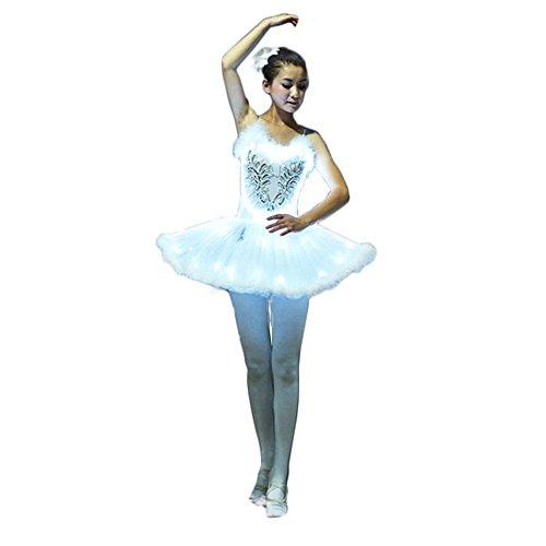 Wantschun Erwachsene Damen LED Ballett Kleid weiß leuchten Tutu Kostüm Party Karneval XL