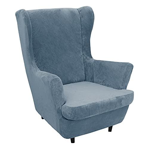 2 Stück Samt Plüsch Stretch Sesselbezug Ohrensessel Schonbezug Ohrensesselbezuga Möbelbezüge Für Sessel Stühle Wohnzimmer (Gray Blue)