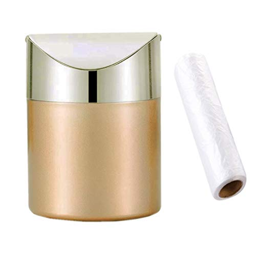 Mini Countertop Brushed Stainless Steel Swing Lid Trash Can Set, Come with Trash Bag, 1.5 L / 0.40 Gal , Multiple Color Options, Golden