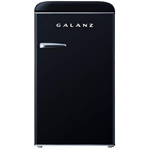 Galanz GLR35BKER Retro Compact Refrigerator, 3.5 Cu.Ft Single Door Fridge Adjustable Mechanical Thermostat with Chiller, Black