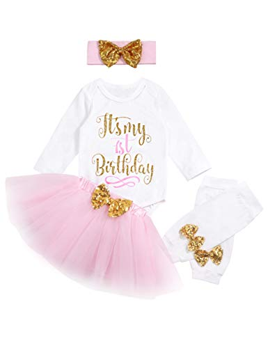 My 1st Birthday Baby Girl Romper & Tutu Skirt & Headband & Leg Warmer Outfit Set 12 Months Pink