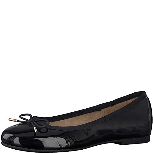 Tamaris Damen Ballerinas 22101-24, Frauen KlassischeBallerinas, weibliche Lady Ladies feminin Women's Women Woman büro,Black PATENT,37 EU / 4 UK