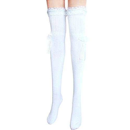 joy workshop Frauen Halterlose Baumwolle Strümpfe Damen über dem Knie Strümpfe_Weiß mit Spitzenschleife