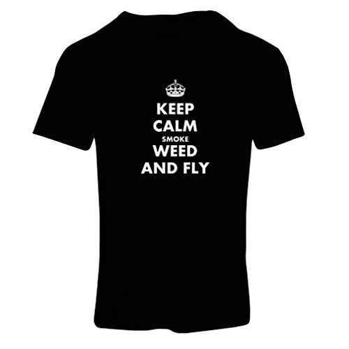 lepni.me Camiseta Mujer Mantenga la Calma, Fume Hierba y vuele! Marihuana, Amante de la Hoja de Cannabis (X-Large Negro Blanco)