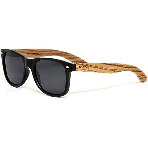GOWOOD Gafas de sol para hombre y mujer con patillas de madera de zebrano y cristales negros polarizados