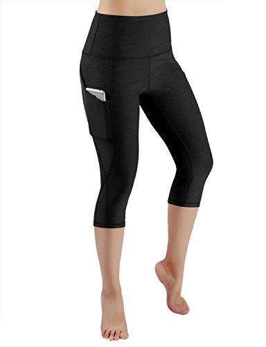 ODODOS High Waist Out Pocket Yoga Capris Pants Tummy Control Workout Running 4 Way Stretch Yoga Capris Leggings,Black,Large