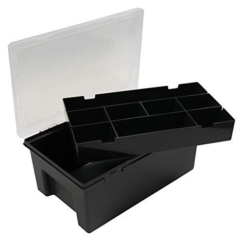 5 Stück - Wham Tief Sortierbox + Einsatz mit 8-Fächer, 29 x 19 x 11,5 cm - Schwarz/Klar