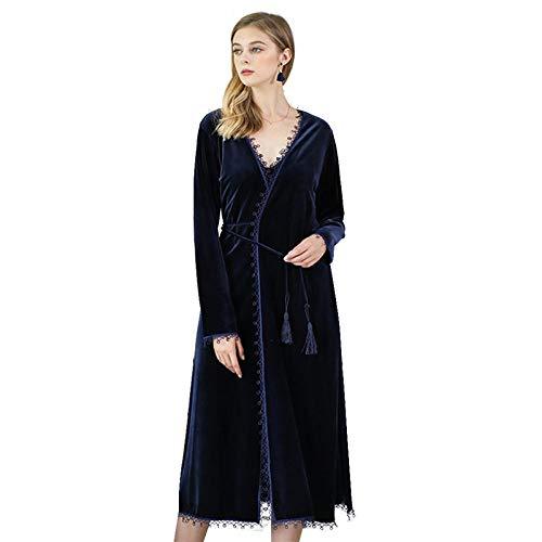 FDJIAJU Roben Für Frauen,Mode Spitze Kimono Bademäntel Damen Samt Schlafanzug Nachtwäsche Frauen Winter Nachthemden Bademantel Für Hochzeit Home Bekleidung Morgenmantel, XL