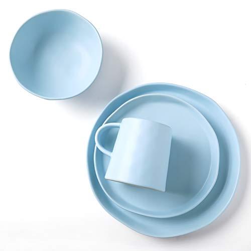Le Tauci 4 Piece Matte Glaze Dinnerware Set, Place Setting Service One Person, Blue