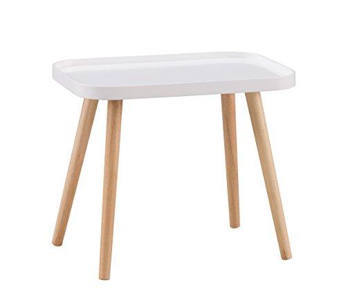 Alsapan Galet Table Basse Scandinave Table d'Appoint Café Bout de Canapé Blanc laqué Piétement en Hévéa Massif  50 x 34 x 43 cm