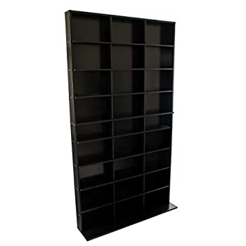 Atlantic Elite Media Storage Cabinet - New/Improved Tower Stores 837 CDs 630 Blu-Rays 531 DVDs 624 PS3/PS4 Games or 528 wii Games with 9 Fixed Shelves PN38408117 in Espresso