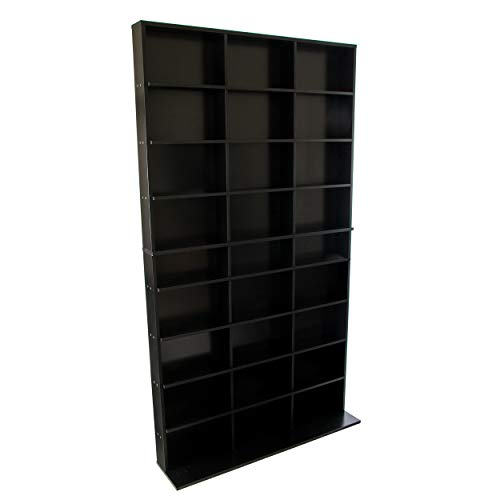 Atlantic Elite Media Storage Cabinet - New/Improved Tower, stores up to 837 CDs; or 630 Blu-Rays; or 531 DVDs; or 624 PS3/PS4/PS5 Games; or 528 Wii Games with 9 Fixed Shelves, PN 38408117 in Black
