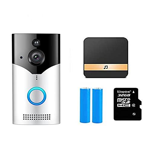 YLYN WiFi Timbre Inalámbrico Exterior Impermeable con Camara,videoportero Inalambrico,Audio Comunicación Bidireccional,Autoinstalación Simple Gran Angular,para iOS y Android,set2