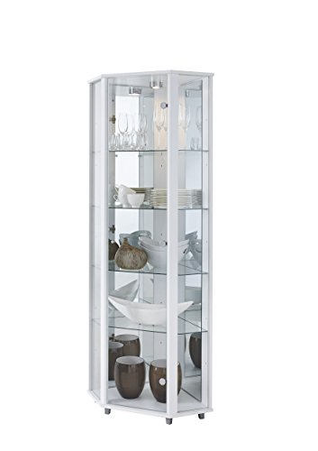 Fully Assembled HOME Corner Glass Display Cabinet White with 4 Glass Shelves, Spotlight & Mirror Back Panel