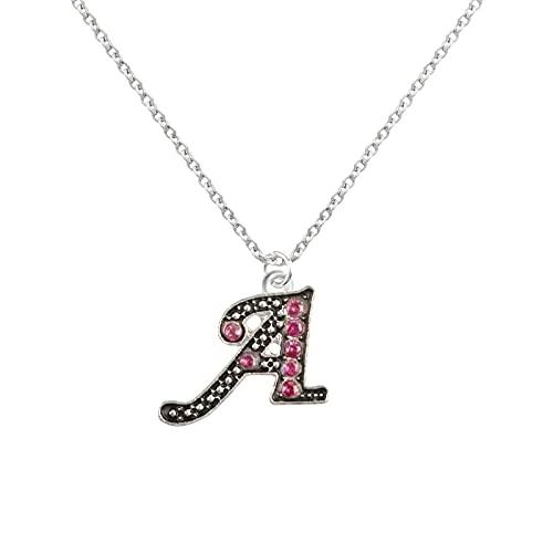 AMOZ Home, Collar Redondo de Diamantes de Color Plateado para Mujer, Cadena con Personalidad Femenina, 26 Letras, para Amplificador de Hogar Navideño, Adorno de Jardín,a