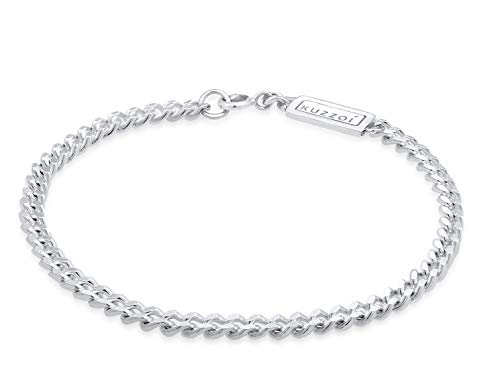 Kuzzoi Buddha Silber-Armband für Herren, handgefertigtes Panzer-Armband aus echten massiven 925 Sterling Silber glänzend poliert, Herren-Armband mit Federring, 5mm breit, 10g schwer, Länge 23 cm